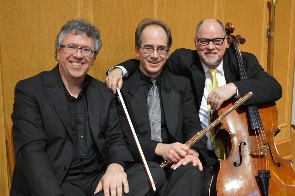 Corey Hamm with the members of the Nu:BC Collective; flutist Paolo Bortolussi, and cellist Eric Wilson